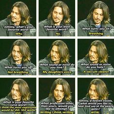 Funny interview question answers from Johnny Depp. ♥ Funny answers to interview questions by Johnny Depp. Captain Jack Sparrow, Funny Interview Questions, Jack Sparrow Quotes, Johnny Depp Quotes, Johnny Depp Tattoos, Johny Depp, Z Cam, Actor Studio, Dc Movies