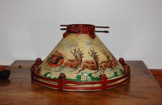 NOMA Christmas Tree Stand, Collectible Lithographed Tin Metal Santa Sleigh Reindeer Stand, Circa 1930s Light Up Tree Stand