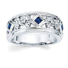 14kt White Gold Diamond and Sapphire Ring by createyourring, $805.00