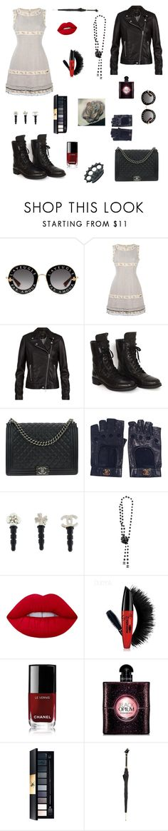 """""""The very worst part of me is you..."""" by nancybcrtn ❤ liked on Polyvore featuring Gucci, Chanel, SET, Lime Crime, Yves Saint Laurent and Pasotti Ombrelli"""
