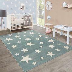 children's rugs Carpet Stinson in blue / whiteWayfair.de children's rugs Carpet Stinson in b Room Rugs, Rugs In Living Room, Area Rugs, Child's Room, Baby Room Colors, Childrens Rugs, Sky Design, Luminous Colours, Light Blue Area Rug