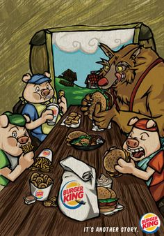 Burger King and 3 Little Pigs. Now Open Burger King at Eatery Kuningan City Level 3 Fast Food Advertising, Creative Advertising, Famous Fairies, Huff And Puff, Self Tanning Lotions, Funny Ads, Three Little Pigs, Programming For Kids, Ad Art