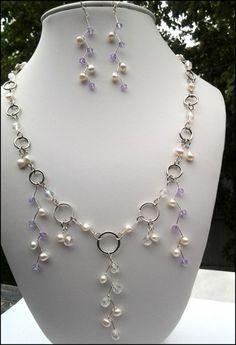 Freshwater Pearl Lavender Swarovski Sterling Earring Necklace Set | specialtivity - Jewelry on ArtFire