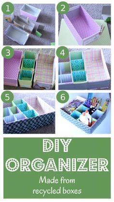 Comment faire un organiseur en boites recyclées : pour mettre dans le tiroir à bazar, sur le bureau ou à côté de l'ordinateur ! - DIY Table Top Organizer Made From Recycled Materials.