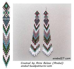 Beaded beads tutorials and patterns, beaded jewelry patterns, wzory bizuterii koralikowej, bizuteria z koralikow - wzory i tutoriale Beaded Earrings Patterns, Seed Bead Patterns, Beading Patterns, Bracelet Patterns, Bead Jewellery, Seed Bead Jewelry, Seed Bead Earrings, Peyote Bracelet, Bead Earrings