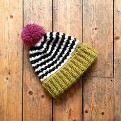 Pip hat in Lime + Raspberry by The Alley Alley Oh https://www.etsy.com/listing/222819176/pip-hat-handmade-crochet-bobble-ski-hat