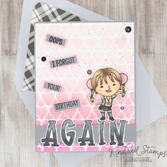 This card uses the Icons set, Doodle Uppercase set, and Hearts stencil from Kindred Stamps. Check out my blog for more details on how I made this card!