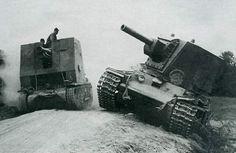 Marder III tank destroyer & KV-2 tank