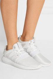 Tubular suede-paneled neoprene sneakers