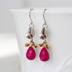 Ruby Red Stone Drop Dangle Earrings, Silver Leaf Links, Gold Czech Glass Cluster Earrings, Beadwork Earrings, Handmade