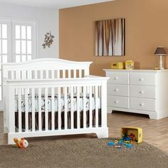 Pali 2 Piece Nursery Set - Volterra Convertible Crib and Double Dresser / Changer in White FREE SHIPPING
