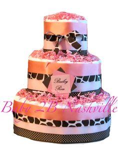 Diaper Cake for Girls in Pink  Giraffe by Baby2BNashville on Etsy, $78.00