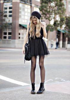 beanie: h&m  dress: love  bag: proenza schouler  boots: dr. martens