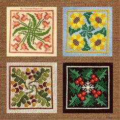 Four season cross stitch patterns. Page is in Hungarian, but the patterns are there.