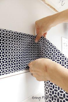 Vinyl Adhesive Backsplash - DIY Home Decor- Being Mrs. Wallpaper Backsplash Kitchen, Self Adhesive Backsplash, Vinyl Backsplash, Backsplash Cheap, Backsplash Design, Vinyl Wallpaper, Room Wallpaper, Wallpaper Ideas, Diy Home Improvement
