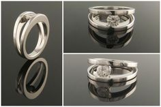 18ct white gold split shank colitaire engagement ring