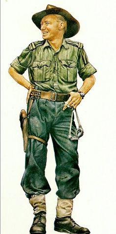 Australian trooper, WWII, pin by Paolo Marzioli Royal Australian Navy, Royal Australian Air Force, Ww2 Uniforms, Military Uniforms, Military Gear, Military History, 40k Armies, Afrika Korps, British Army