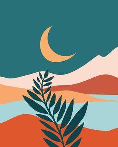Moonlit Mediterranean / Maximal Mountain Landscape Clear Acrylic Organizer/serving Tray by Moderntropical - Medium 15 x Easy Canvas Art, Simple Canvas Paintings, Small Canvas Art, Mini Canvas Art, Acrylic Painting Canvas, Minimalist Art, Painting Inspiration, Illustration Art, Art Prints