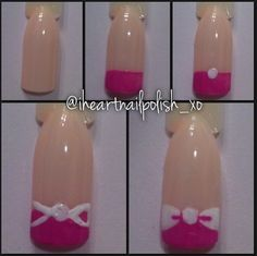 Bow nail art tutorial by @ihearnailpolish_xo