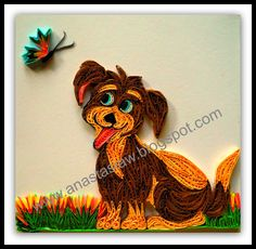 Quilled dog and butterfly by Anastasia (Annie) Wahalatantiri