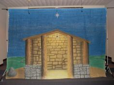 Nativity backdrop completed - The longest explanation of this stable airburshed back drop is in the Nativity Stage backdrop in the making photo. Church Christmas Decorations, Christmas Stage, Christmas Pageant, Christmas Backdrops, Christmas Program, Christmas Nativity Scene, Childrens Christmas, Christmas Art, Handmade Christmas