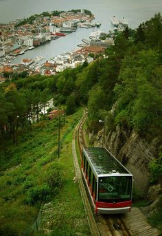 Funicular travel in Bergen. Bergen is a city in Hordaland on the west coast of Norway. The city is surrounded by mountains. For this reason, Bergen is known as the city of seven mountains. Beautiful Norway, Beautiful World, Lofoten, Places Around The World, Travel Around The World, Places To Travel, Places To See, Travel Things, Travel Stuff