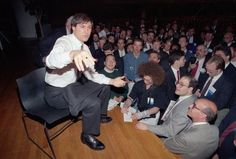 Steve Jobs of NeXT Computer Inc., speaks to the public during the UNIX expo at the Javitz Convention Center in New York City on Oct. 30, 1991.