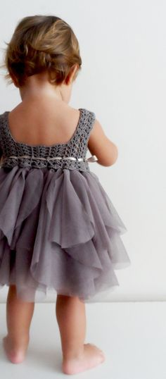 For Ellie! I bet I can knit this top part. Baby Tulle Dress with Stretch Crochet Top.