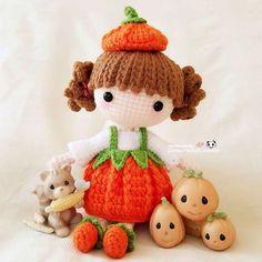 Cute pumpkin girl with little friends (pattern by @stup1da_ ) 可爱的南瓜小妹