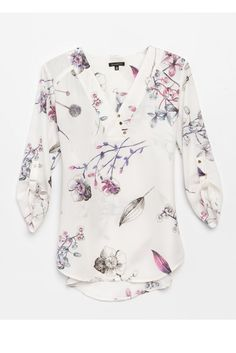 Floral Blouse- cute with dress pants for work or skinny jeans on the weekend - blouses, skirt, simple, printed, back, tops blouse *ad