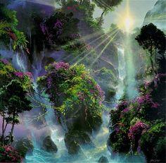 J'aime l'effet de paradis que l'image donne. Pour moi, c'est ça le paradis: des fleurs et de la nature partout, avec le soleil qui peut passer à travers la verdure.