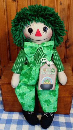 Handmade PRIMITIVE Irish Raggedy Andy Doll in Shamrock Overalls St Patricks Day.  Doll by Cathy Mullins.