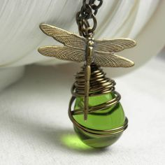 Wire Wrapped Pendant Necklace Clear Olive Glass by LunaJewelry, $29.00