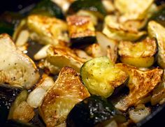 pattypan squash medley - Pitty-Pat (or Patty-Pan) squash were at the farmer's market, so we sliced one into wedges and roasted it with chunks of zucchini and onions in the oven. Just add salt, pepper and a light coating of olive oil – roast at 400F until tender and browned.