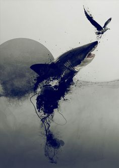 I love the modern Gothic style to the piece and how realistic and dark it is whilst still focusing on the medium and displaying the properties of the paint. You can tell it's a shark but the bottom is abstract and very watery conveying the conditions they live in and creating a dark side to the shark it's only abstract under the surface where you can't see them.