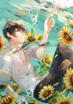 Image shared by 정호석. Find images and videos about boy, anime and flowers on We Heart It - the app to get lost in what you love. Anime Girls, Hot Anime Boy, Cute Anime Guys, Anime Love, Manga Anime, Art Anime, Anime Artwork, Manga Art, Oriental