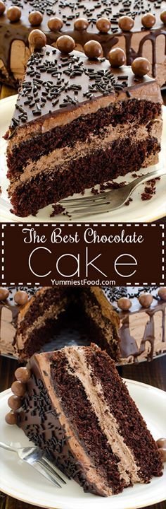 The BEST Chocolate Cake - perfect cake for chocolate lovers! Soft tasty and very creamy! Great Combination of Chocolate and Coffee.