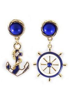 Blue Anchor Drop Earring - Choies