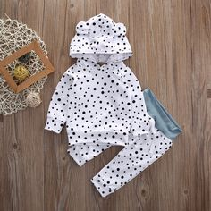 Polka Dot Hooded Ear Two Piece Pajamas from kidspetite.com!  Adorable & affordable baby, toddler & kids clothing. Shop from one of the best providers of children apparel at Kids Petite. FREE Worldwide Shipping to over 230+ countries ✈️  www.kidspetite.com  #boy #clothing #pajamas #infant #baby #newborn Legging Outfits, Baby Boy Outfits, Kids Outfits, Baby Boy Clothing Sets, Kids Clothing, Infant Clothing, Clothing Stores, Boutique Clothing, Vestidos