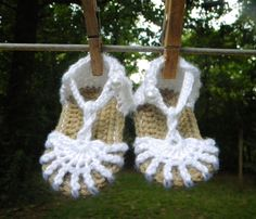 Made-to-Order Crochet Newborn Infant Baby Girl or Boy Button Summer Sandals With Optional Flower. $15,00, via Etsy.