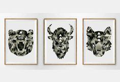Geometric Print Set Watercolor Bison Wolf Bear Art Modern Wall Art Minimalist Artwork Collection Monochrome Print Animals Nature Wildlife