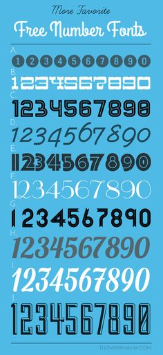 More Favorite Free Number Fonts! I shared 11 last week, now Im sharing 10 more. Hand Lettering Fonts, Doodle Lettering, Handwriting Fonts, Monogram Fonts, Typography Fonts, Number Fonts Free, Number Tattoo Fonts, Game Design, Banners