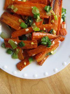 Roasted Carrots with Scallion-Ginger Glaze.