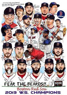 2013 World Series Champions Boston Red Sox / DaveOlsenArtwork Red Sox Baseball, Baseball Socks, Baseball Art, Sports Baseball, Sports Art, Sports Teams, Buy Basketball, Baseball Stuff, Softball