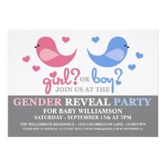 Perfect for spring Baby Gender Reveal Party invitations.