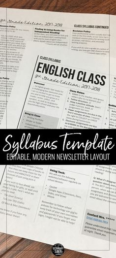 Editable syllabus template in a modern newsletter layout