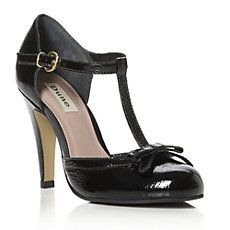 Candstrom Patent T- Bar Trim Court Shoe. Dune. £85.00.