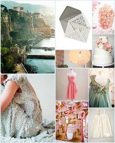 Mediterranean Isles, Weddings, Inspiration, Peach, Pink, Blue, Teal,  Lace, Flower girl dress