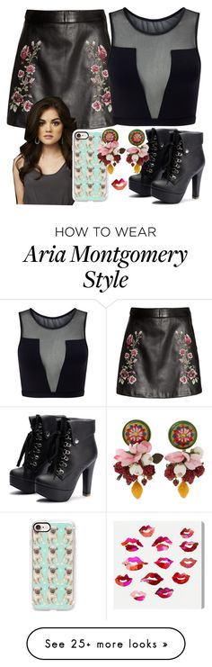 """""""Aria Montgomery"""" by hazelvictoria on Polyvore featuring Varley, Casetify, Dolce&Gabbana and Oliver Gal Artist Co. Grunge Look, Grunge Style, 90s Grunge, Soft Grunge, Grunge Outfits, Teen Wolf Outfits, Pll Outfits, Casual Outfits, Cute Outfits"""