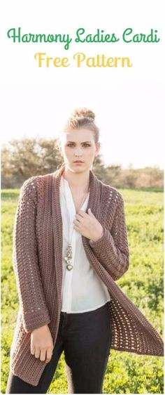 Crochet Harmony Ladies Cardigan Free Pattern - Crochet Women Sweater Coat & Cardigan Free Patterns